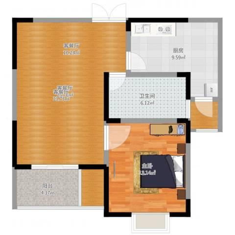 汇智・阳澄华庭1室2厅1卫1厨78.00㎡户型图