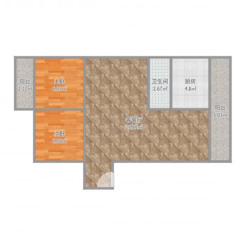 金丰花园2室2厅1卫1厨68.00㎡户型图