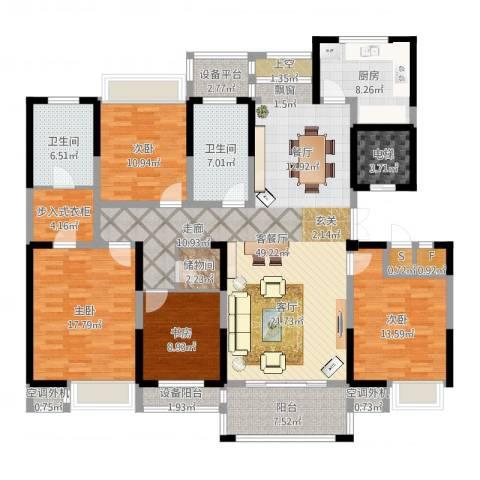 新浪琴湾4室2厅2卫1厨186.00㎡户型图