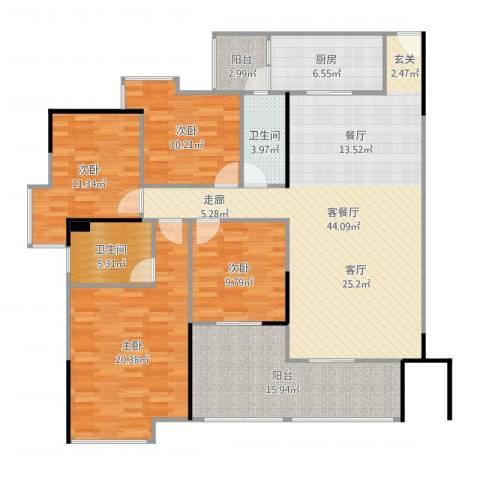 中海金沙苑4室2厅2卫1厨130.58㎡户型图