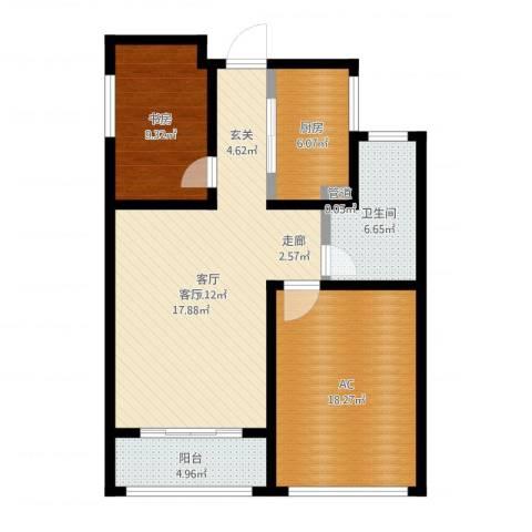 建滔裕景园1室1厅1卫1厨93.00㎡户型图