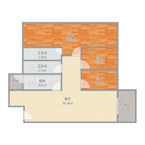 怡丰都市广场3室1厅2卫1厨107.00㎡户型图