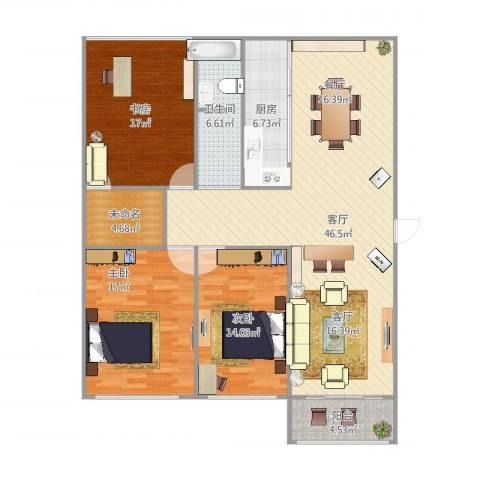 兴园小区3室1厅1卫1厨156.00㎡户型图