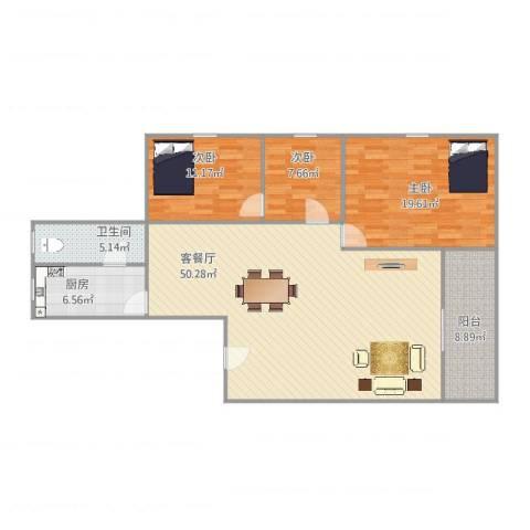 东明花园3室2厅1卫1厨145.00㎡户型图