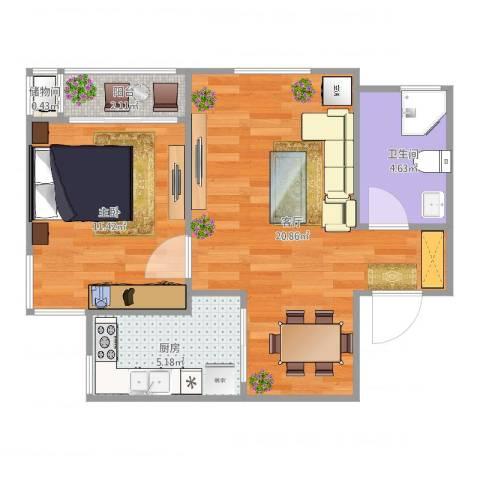 三和温泉小区1室1厅1卫1厨56.00㎡户型图