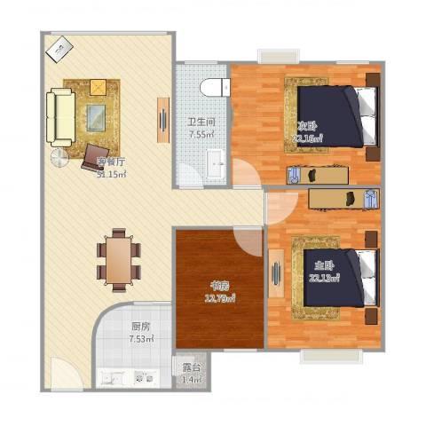 丽日华庭3室2厅1卫1厨165.00㎡户型图