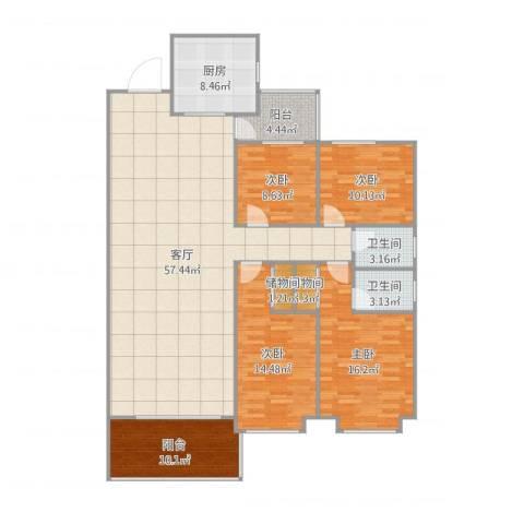 汕尾天明鸿景园二期E栋1梯4室1厅2卫1厨173.00㎡户型图