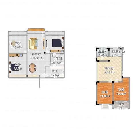 荷花苑4室2厅2卫2厨211.00㎡户型图