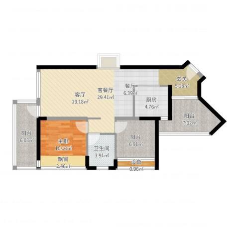 莱蒙水榭春天1室2厅1卫1厨86.00㎡户型图