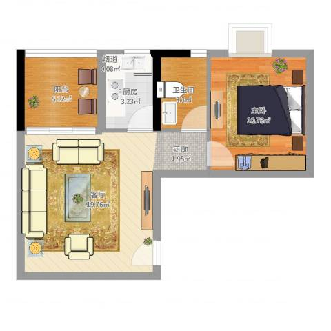 银汇华庭1室1厅1卫1厨53.00㎡户型图