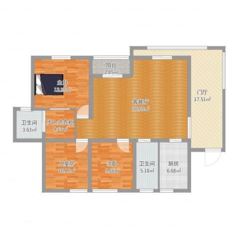 中建康城3室2厅2卫1厨138.00㎡户型图