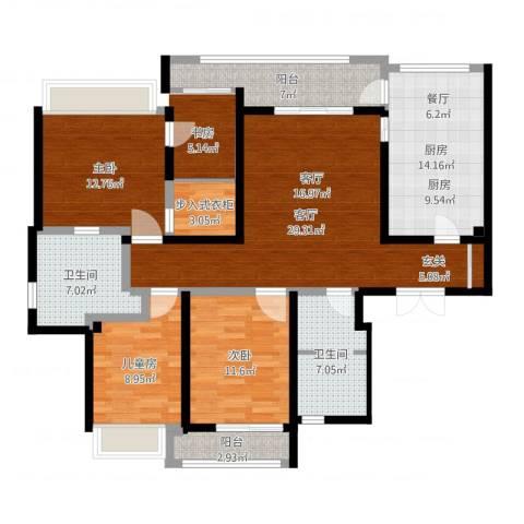 陆家嘴锦绣前城3室1厅2卫1厨130.00㎡户型图