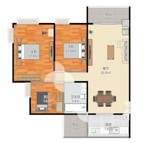 广州亚运城天誉3室1厅1卫1厨112.00㎡户型图