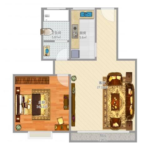丽泽荷亭苑A6型62.75平方1室1厅1卫1厨69.00㎡户型图