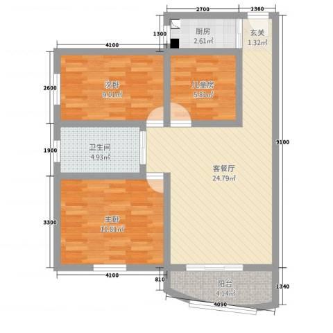 华港花园3室2厅1卫1厨89.00㎡户型图