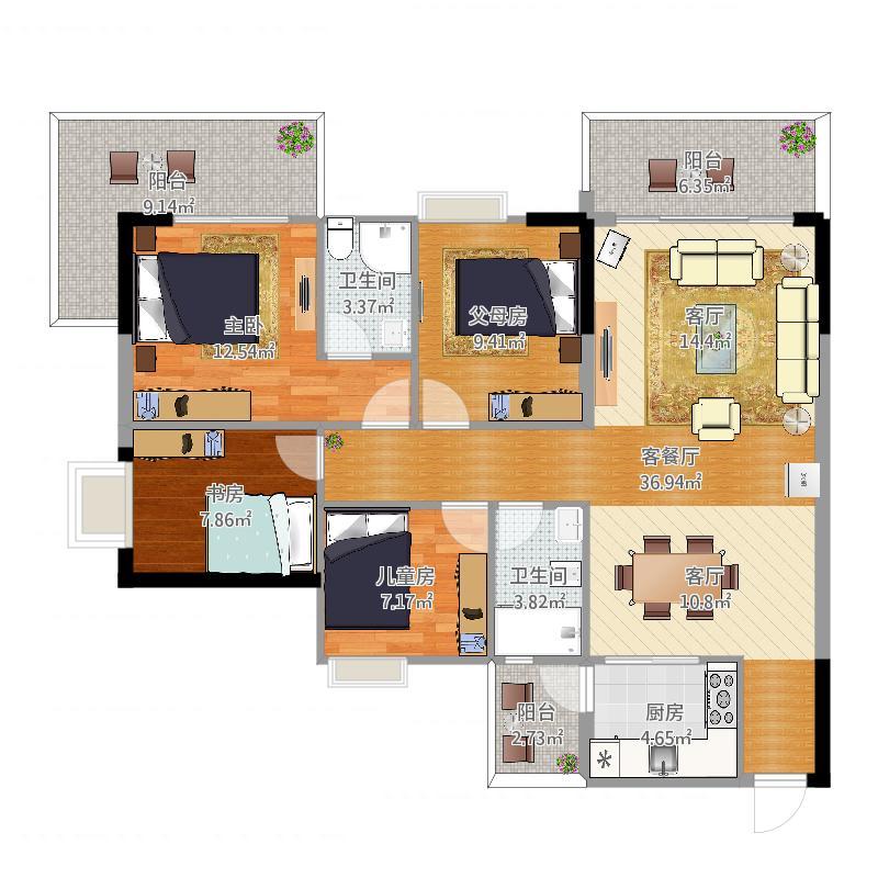 A205户型四室两厅