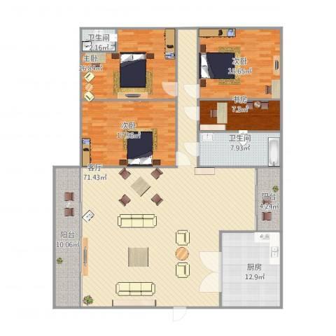 丽日豪庭4室1厅2卫1厨222.00㎡户型图
