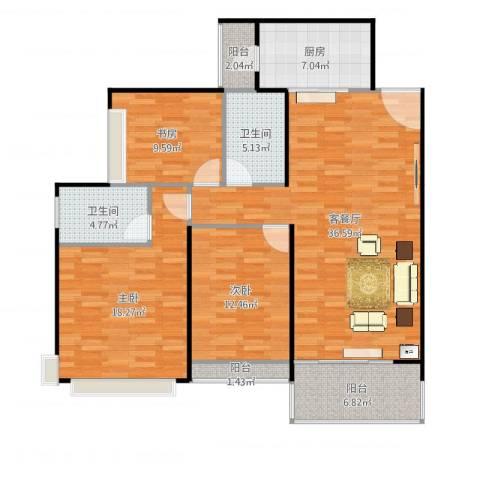 太原恒大名都3室2厅2卫1厨130.00㎡户型图