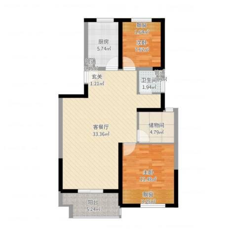 莱茵郡2室2厅1卫1厨91.00㎡户型图