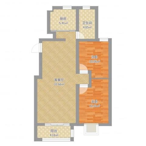 中德亚运村北区2室2厅1卫1厨101.00㎡户型图