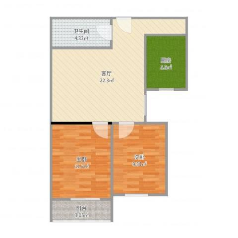 南湖中园一区2室1厅1卫1厨71.00㎡户型图
