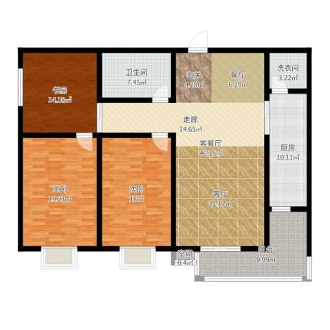 滨河悦秀3室2厅1卫1厨182.00㎡户型图
