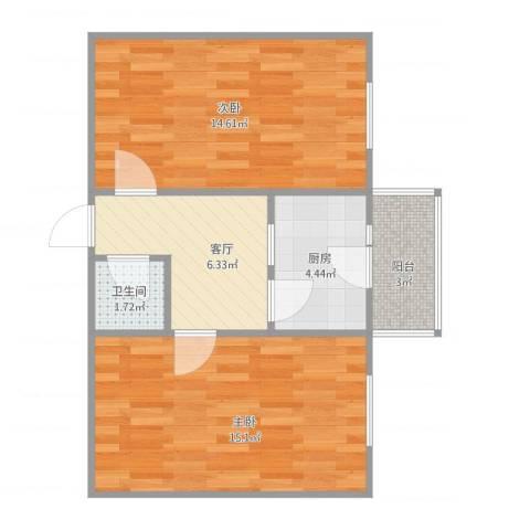 锦园北里2室1厅1卫1厨61.00㎡户型图