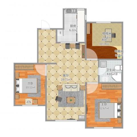 郡原小石城3室1厅1卫1厨91.00㎡户型图