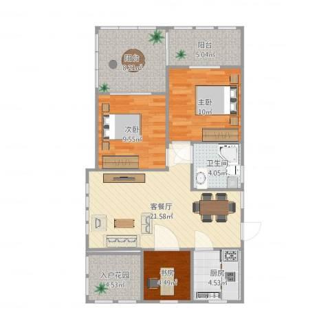 金茂四季花园3室2厅1卫1厨90.00㎡户型图