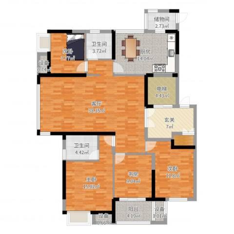 高成莱茵郡4室1厅2卫1厨158.00㎡户型图