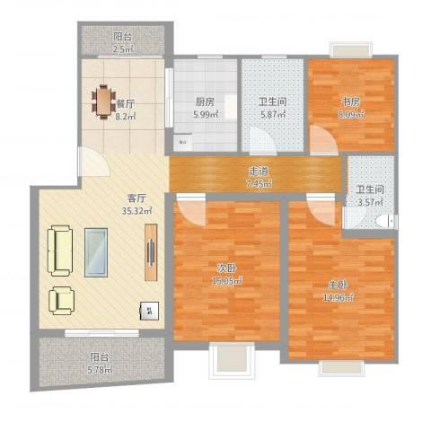 湖滨世纪花园3室1厅2卫1厨121.00㎡户型图