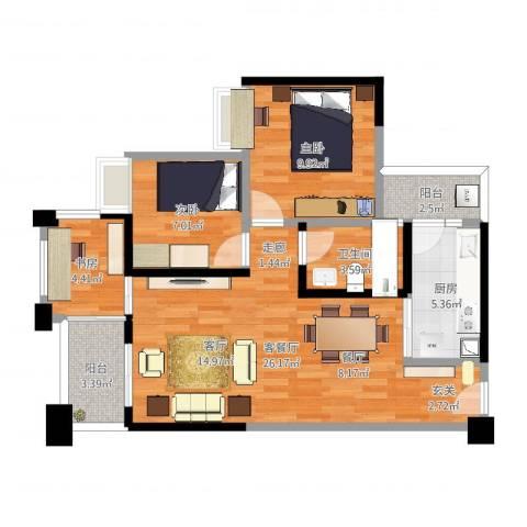 萝岗奥园广场3室2厅1卫1厨78.00㎡户型图