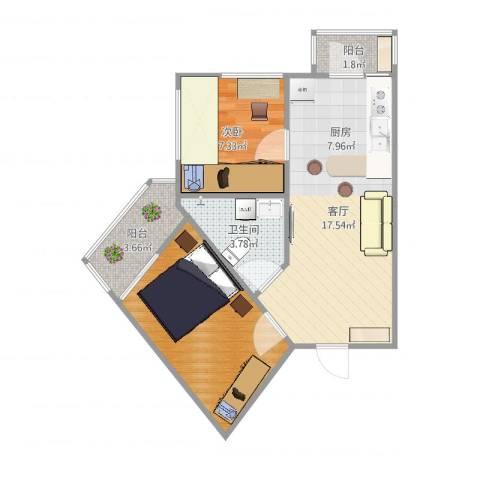 红旗新区1室1厅1卫2厨55.00㎡户型图