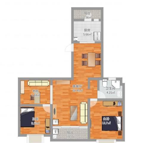 中邦城市3室2厅1卫1厨92.00㎡户型图