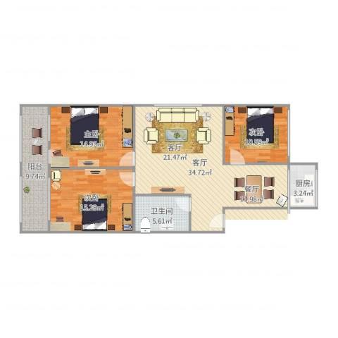 华龙路单位宿舍3室1厅1卫1厨118.00㎡户型图