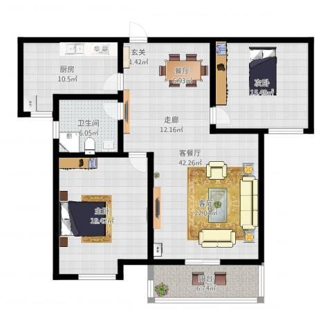 高新名门2室2厅1卫1厨126.00㎡户型图