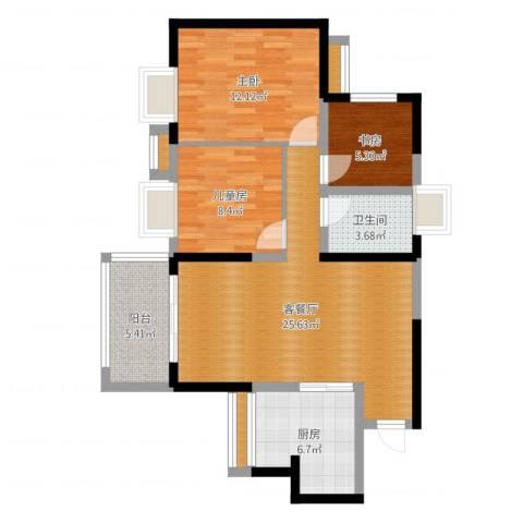 广州星河・山海湾3室2厅1卫1厨86.00㎡户型图