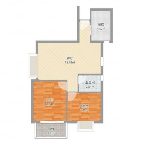 利和阁2室1厅1卫1厨60.00㎡户型图
