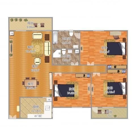 新景园二期3室1厅2卫1厨241.00㎡户型图