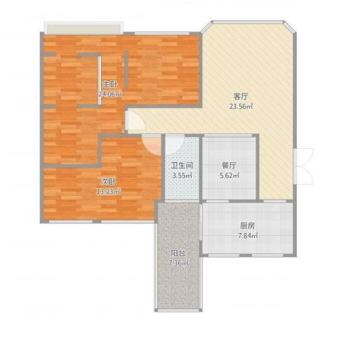 森美时代花园2室2厅1卫1厨107.00㎡户型图