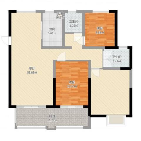 悦达悦珑湾2室1厅2卫1厨125.00㎡户型图