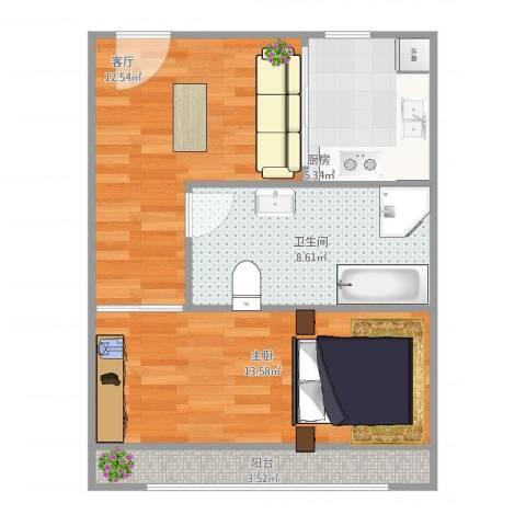 上南五村111111111111111111111111室1厅1卫1厨60.00㎡户型图