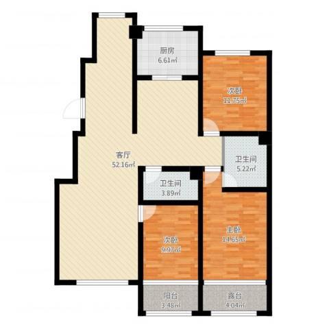 坤泰新界3室1厅2卫1厨140.00㎡户型图