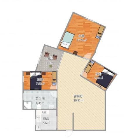 CITY1553室2厅1卫1厨124.00㎡户型图