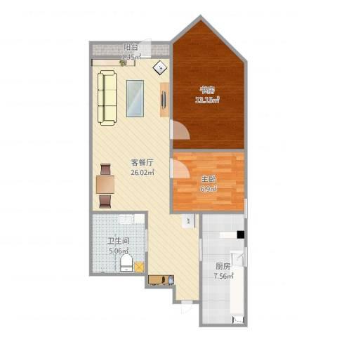 开阳里小区2室2厅1卫1厨75.00㎡户型图