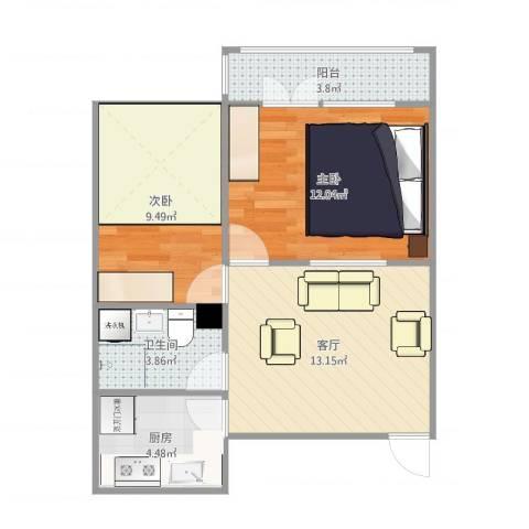 万达高层2室1厅1卫1厨59.00㎡户型图