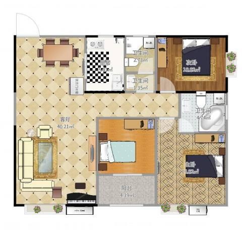 骆仙湖畔118平2室1厅3卫1厨118.00㎡户型图