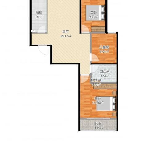 航天城小区3室1厅1卫1厨105.00㎡户型图