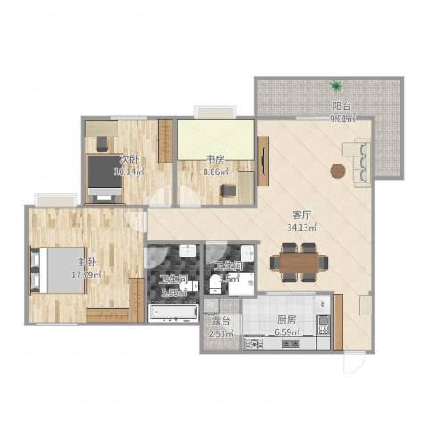 锦绣香江紫荆雅园1073室1厅2卫1厨123.00㎡户型图