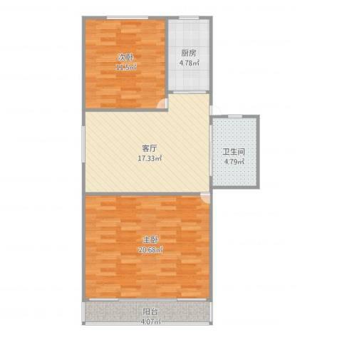 瑞冬小区2室1厅1卫1厨85.00㎡户型图